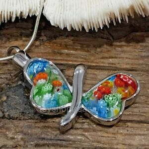 Murano Glass Butterfly Memorial Keepsake Cremation Urn Pendant Necklace