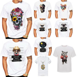 Floral-Skull-Printed-Men-039-s-Summer-T-Shirt-Cotton-Short-Sleeve-White-Tee-Tops