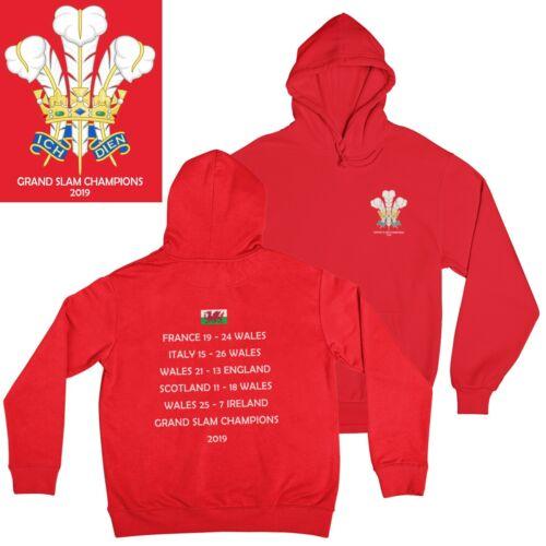Wales Grand Slam 2019 Champions Rugby Hoodie Cymru Welsh T-Shirt Top Mens Boys