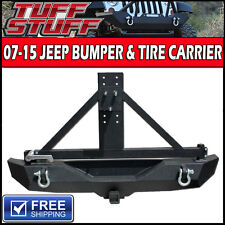 07-15 JEEP WRANGLER JK ROCK CRAWLER REAR BUMPER TIRE CARRIER SWING OUT + D-RINGS