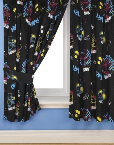 """66/""""x54/"""" CURTAINS BART FUNK THE SIMPSONS BLACK BLUE YELLOW RED STARS SKATEBOARD"""