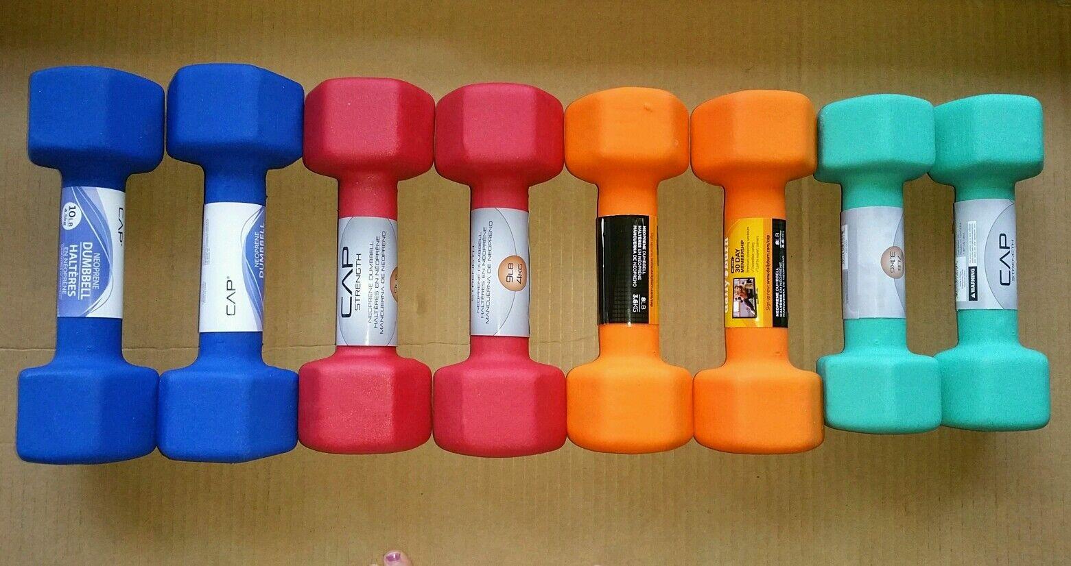 Cap Barbell Neoprene Dumbbell  8 Piece Set  2 each 7, 8, 9, 10 NEW dumbbells