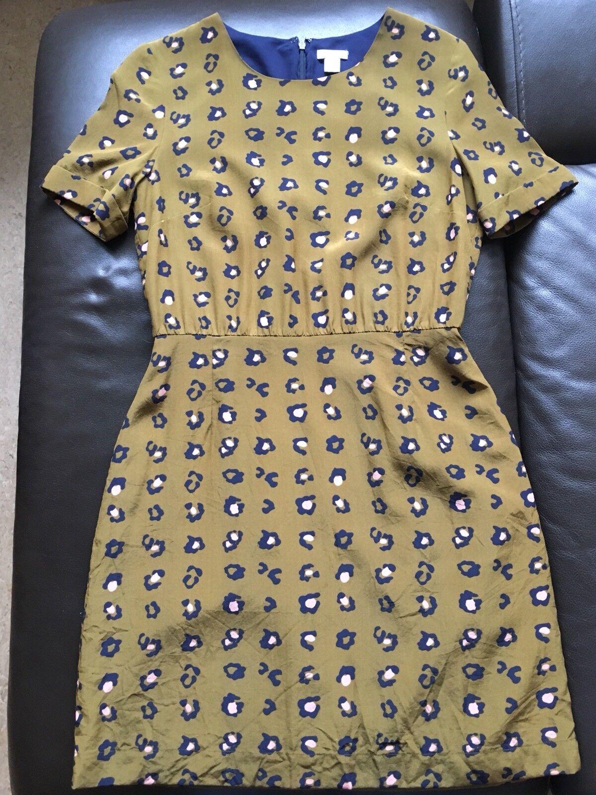 Fossil Damen Kleid Leopardmuster Gr. XS Silk 100% Seide