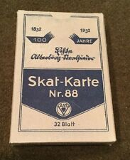 Original WW2 German Soldiers Playing Cards Game Skat Karte Nr. 88 Unopened NOS