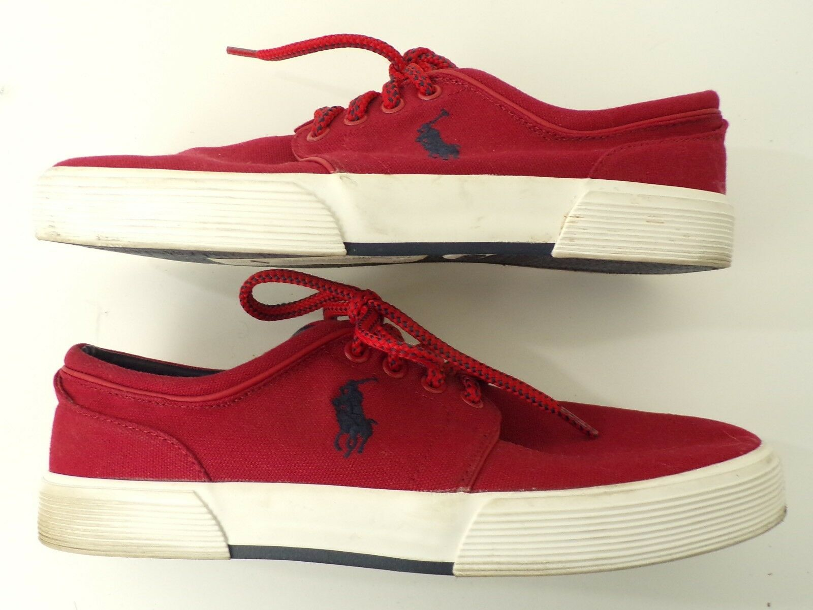 POLO RALPH LAUREN Mens Red Canvas Faxon Low Tie Casual Sneakers Size 8D