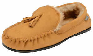 609f20893de65a Image is loading Mens-British-Designed-Tan-Faux-Suede-Moccasin-Warm-