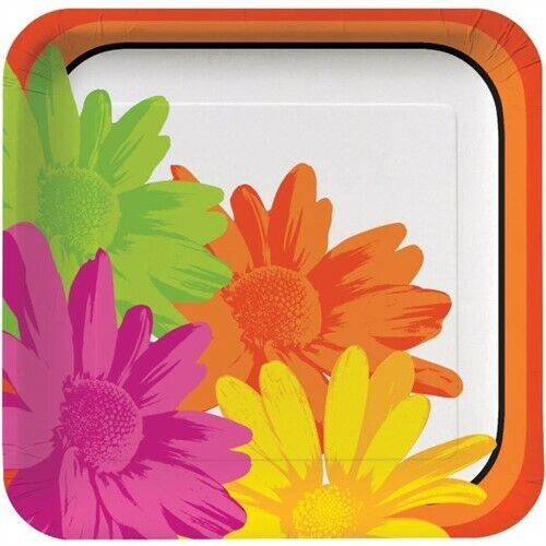 Floral Stripes 9 Inch Paper Deep Dish Plates 8 Pack Spring Summer Birthday Party