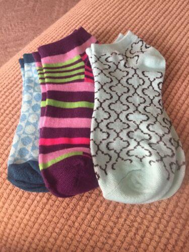 Women/'s Decorative Ankle Socks Set Of Three  Shoe Size 4-10 Brand New