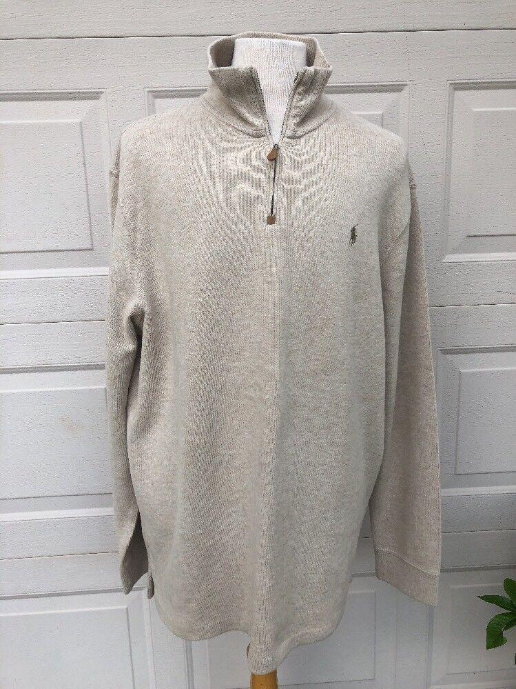 Polo Ralph Lauren 1/4 Zip Sweater Größe XXL Beige