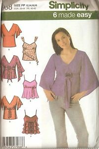Misses 6 Made Easy Tops Sewing Pattern Sizes 12-18 Simplicity 4958 UNCUT