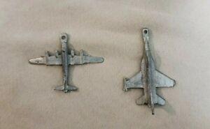 Pewter Jet Aircraft Superb USA Pendant Figurine Lot of 2 Vintage Signed
