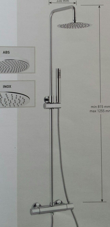 COLONNA DOCCIA 13077 TELESCOPICA SOFFIONE INOX D. 200 MM E TERMOSTATICO ITALY