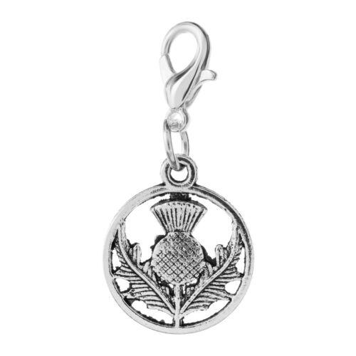 CLIP ON CHARM Thistle Tibetan Silver Scotland