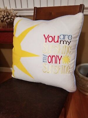 You are my Sunshine Embroidered Pillow Cover
