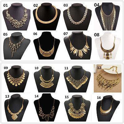 New hot Fashion gold Pendant Statement Bib Chunky Charm Choker Necklace N005