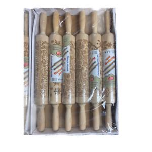 Christmas Wooden Rolling Pin Embossing Baking Cookies 6 Design Set