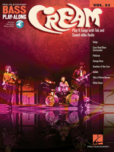 Cream Bass Play-Along Volume 52 Bass Learn to Play MUSIC BOOK /& ONLINE AUDIO