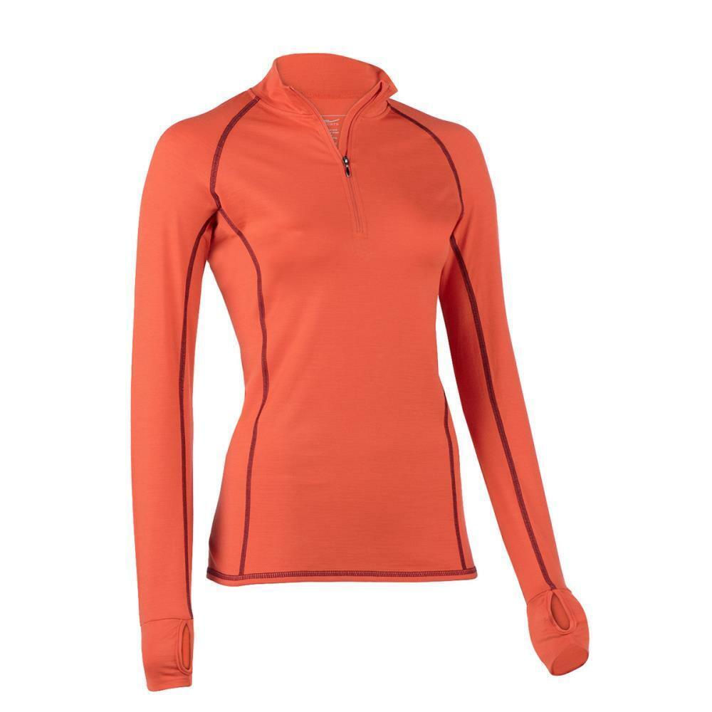 Engel Sports Damen Langarm Lauf-Shirt mit Zip / Sportshirt Bio-Wolle/Seide