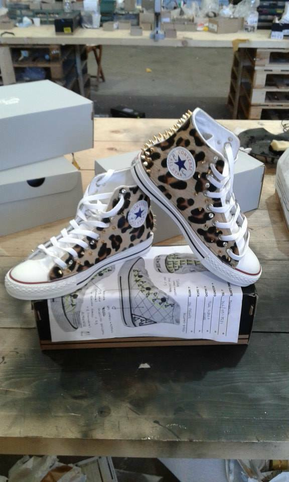 Converse all Star with Rocking Horse Spotted More' Studs gold + Swarovski