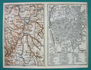 1884 Map Baedeker Germany Darmstadt City Plan Heidelberg