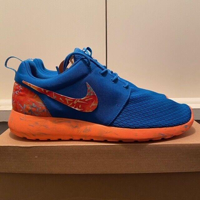 Mens Customised Nike Roshe Run Marble Military Blue Orange Size UK 10