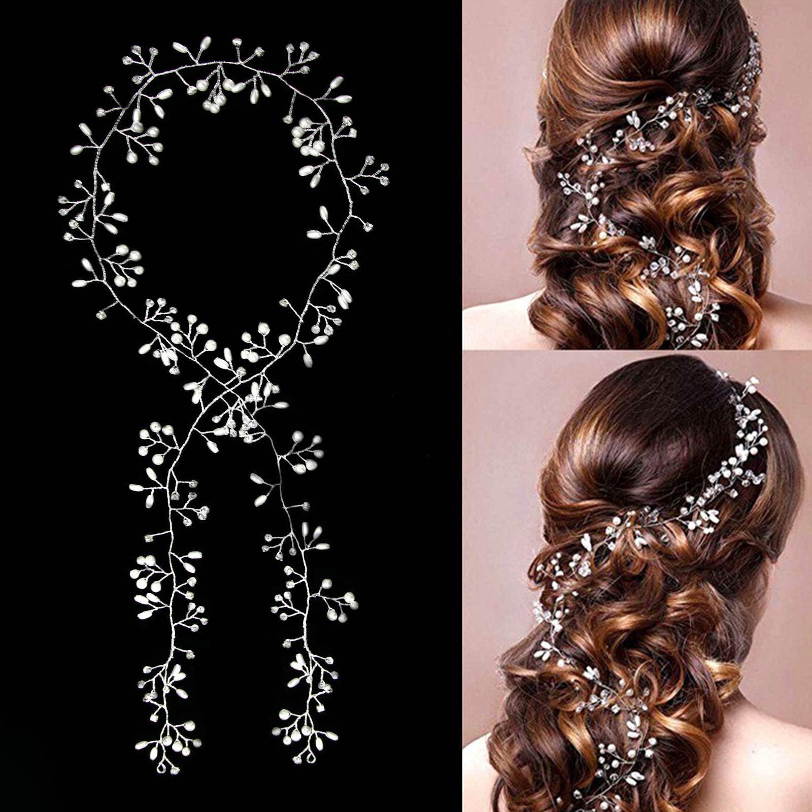 Braut haarschmuck mit perlen  1M Haarkette Hochzeit Perlen Haarschmuck Kette Haarband Braut ...