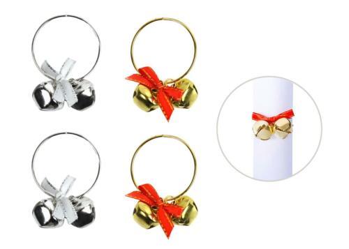 6 ronds de serviette Anneaux Or Argent Cloches Métal Noël Noël Table De Fête Festif Set