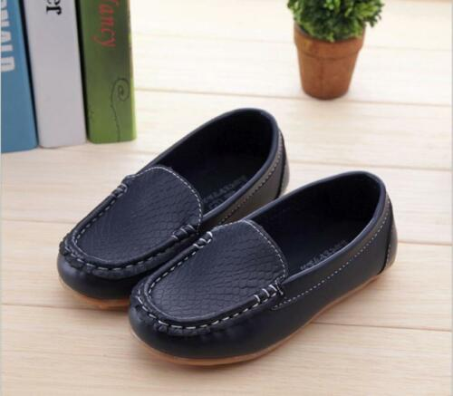 New Fashion Children/'s PU Leather Boat Shoes Slip On Casual Flats Little//Big Kid