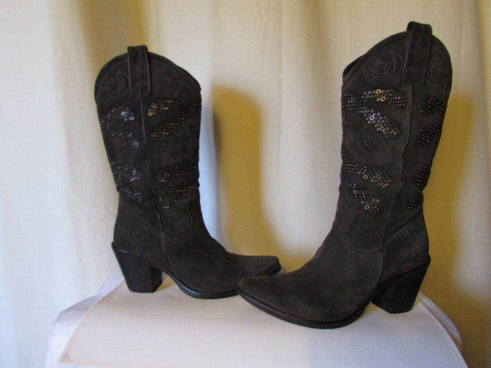 Jacket Denim fru  boots size 39 grey suede and metal