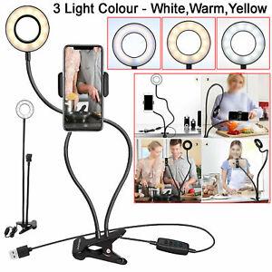SELFIE Flash Anello Luce + supporto del telefono cellulare fotocamera 24 LED Lungo Braccio USB Clip On