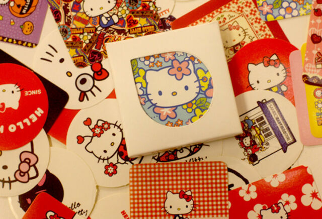 New 1 Small box 38 PCS cute KT cat diary stationery paper Envelope Seal sticker