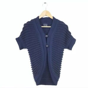 Fendi-Cardigan-Sweater-36-Navy-Blue-Ribbed-Cashmere-Wool-Women-s-Short-Sleeve