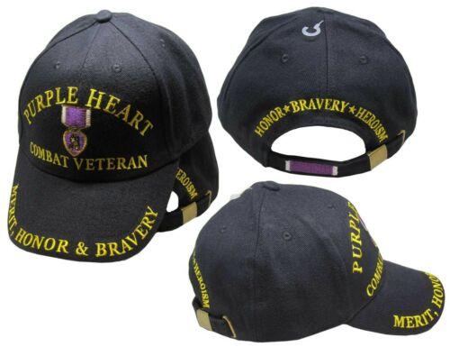 Honor /& Bravery Black Embroidered Cap Hat Purple Heart Combat Veteran Merit