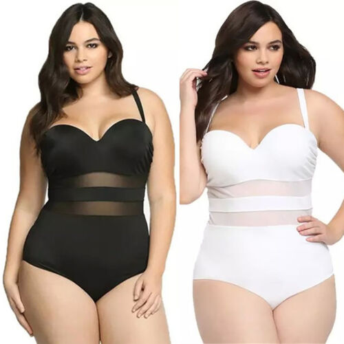 Übergröße Damen Bikini Set Hohe Taille Strand Badeanzug Schwimmanzug BadeKleid