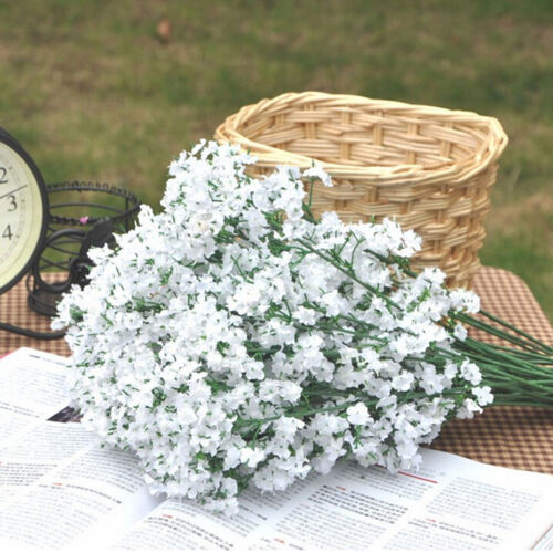 4x faux bouquet blanc artificiel partie mariage gypsophile Baby Breath