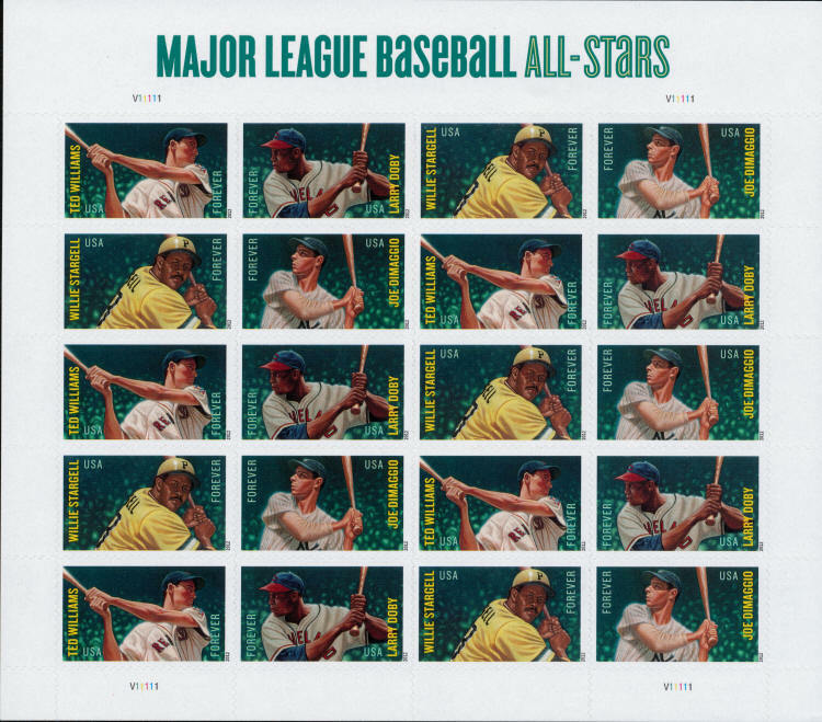 2012 45c Major League Baseball All-stars, Sheet of 20 S