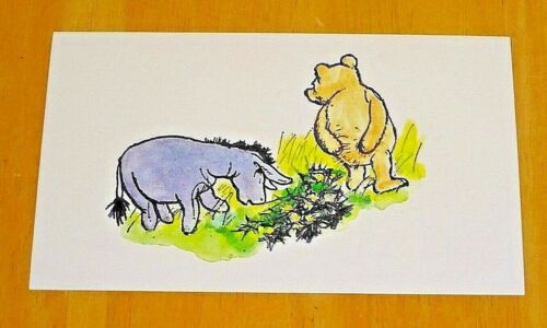 EEYORE AND THE PRICKLY BUSH ~ NEW WINNIE-THE-POOH PRINTED POSTCARD ~ POOH BEAR