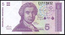 1991 CROATIA 5 DINARA BANKNOTE * UNC * P-17a *