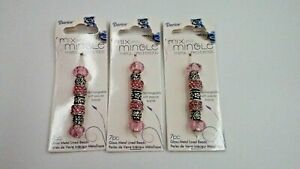 Lot of 3 Darice Mix & Mingle Metal Lined Beads Light Pink 7 pc each package