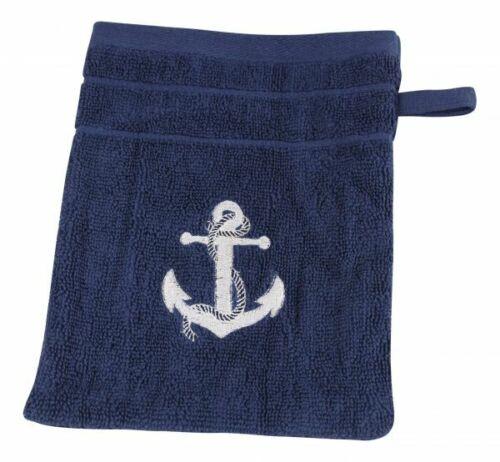 Waschhandschuh marineblau mit Anker Waschlappen