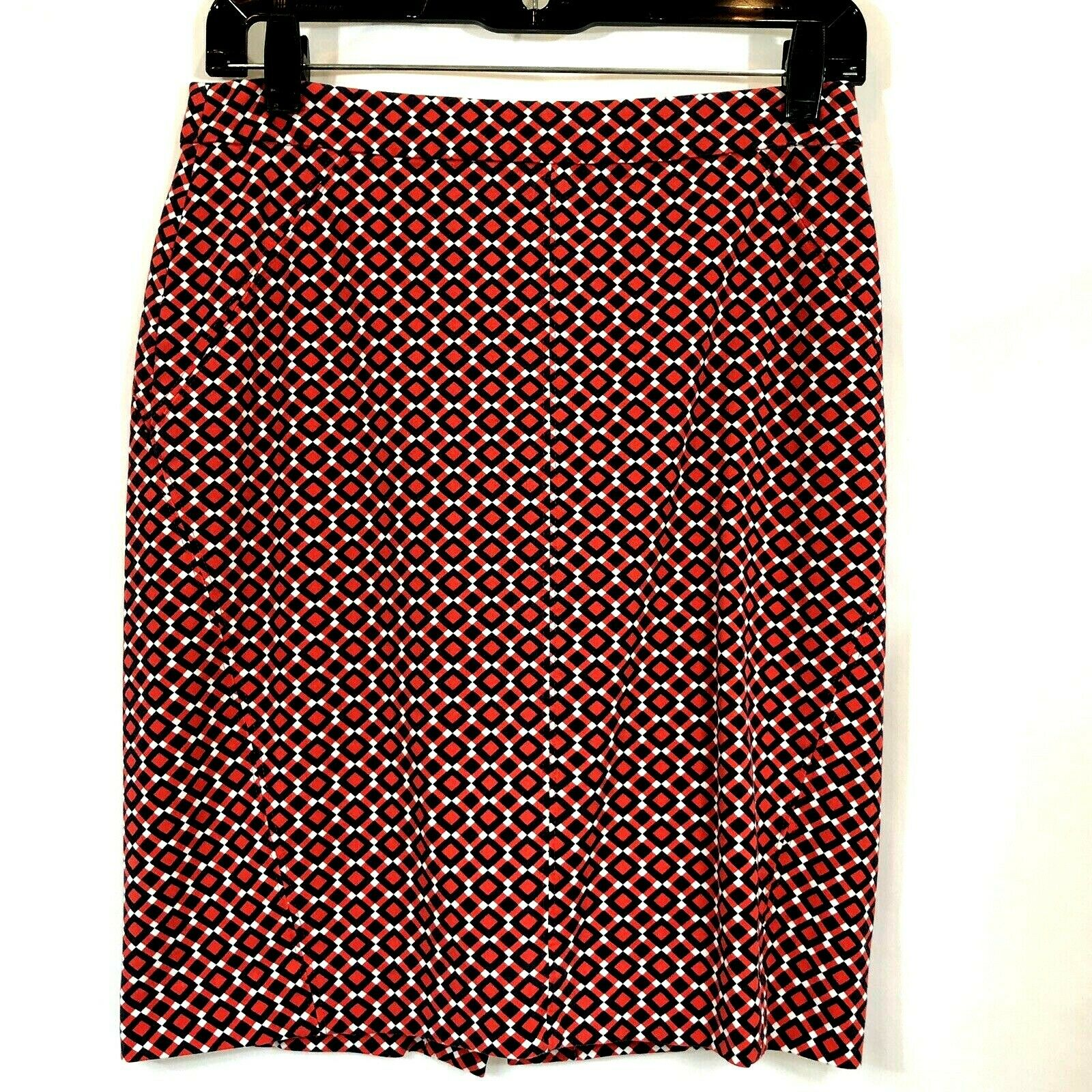 Ann Taylor Red and Navy Geometric Print Skirt Size 2p