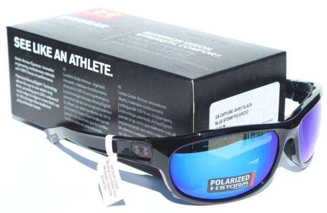 a65ac179ab0b UNDER ARMOUR Capture POLARIZED Sunglasses Shiny Black/Blue Storm Sport NEW  $150