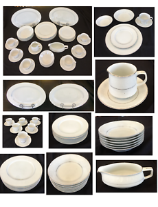 VINTAGE Brentwood Fine China Dinnerware WHITE LACE 41-Piece Set JAPAN
