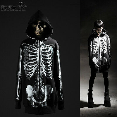 ByTheR Skull Zip Up Hoodie Pull over Zipper Skeleton Printed Jacket P0000TAN N