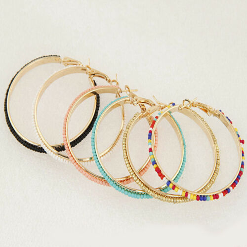 Exagération Grand Rond Cercle Glitter Faux Diamond Boutique Boucles d/'oreilles Shan