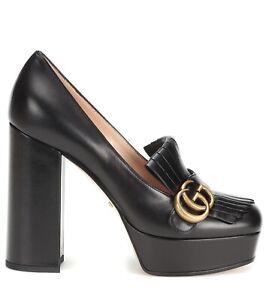 gucci marmont platform black gold gg logo block high heel