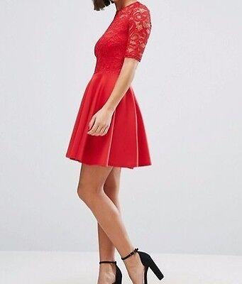 Capace Skater Dress Fit E Flare Rosso Pizzo Skater Mini Abito-mostra Il Titolo Originale