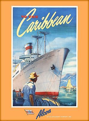 To The Caribbean Alcoa Steamship Vintage Oceanliner Travel Advertisement Poster