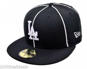 New-Era-59Fifty-Cap-Mens-MLB-Los-Angeles-Dodgers-Black-Piping-LA-Fitted-Hat-5950