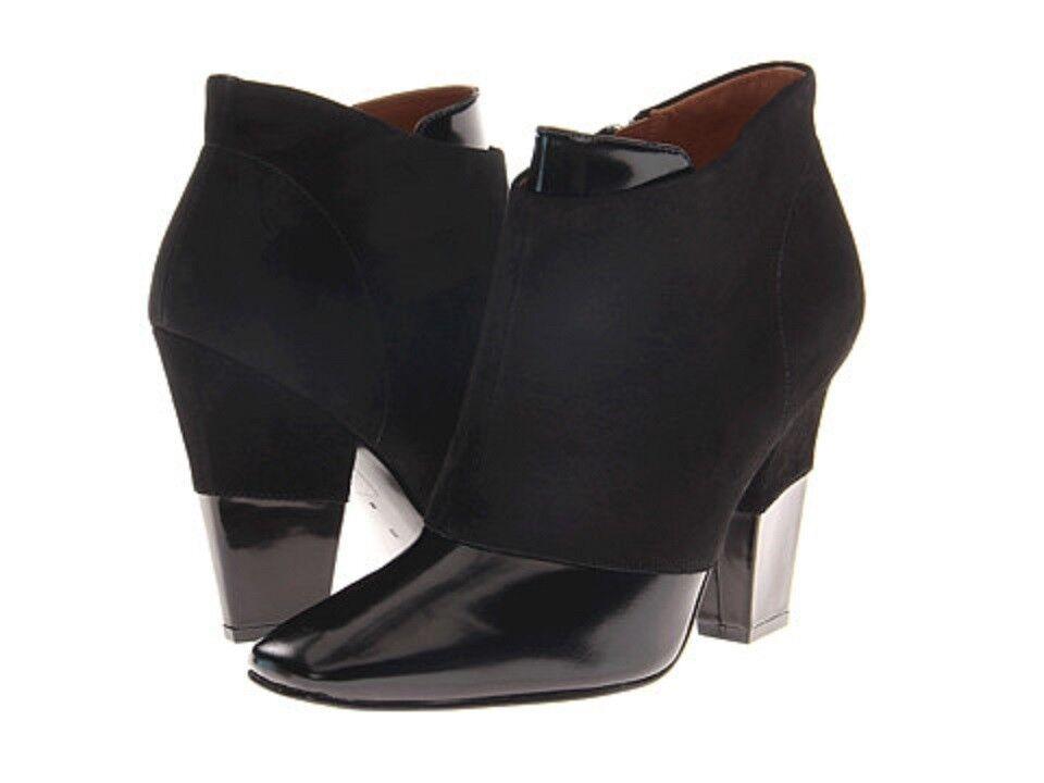 NEW  495 Sigerson Morrison Women Face Zip US 10 Boots Bootie Black Leather Suede